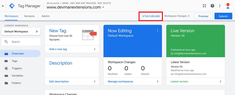 Opencart google marketing tools Google tag manager ID