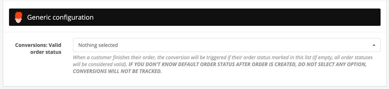 Opencart Google Marketing Tools - Order status valid for conversion