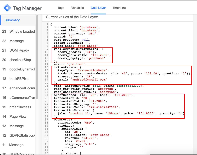 Opencart Google marketing Tools - Order success datalayer