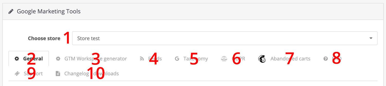 Opencart Google Marketing Tools tabs