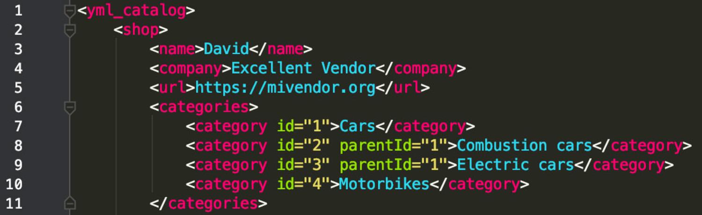 Opencart Import Export PRO XML Node categories example