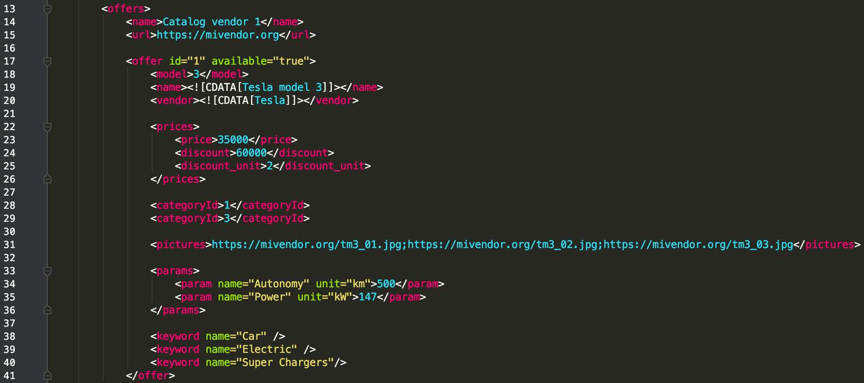 Opencart Import Export PRO XML Node proudcts example